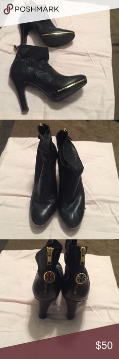 """Tory Burch black booties with gold trim 4"""" heel Tory Burch booties in good condition although the gold band around toe area a little bent (easily fixable or removable if you like). These were too high for running around NYC so not worn much. Tory Burch Shoes Ankle Boots & Booties"""