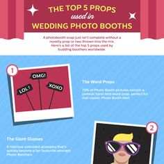 Having a photo booth at your wedding reception is a recipe for memorable pictures. Here are the top five must have props for your wedding photo booth.