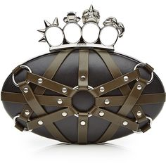 Alexander McQueen Embellished Leather Box Clutch (3 465 AUD) ❤ liked on Polyvore featuring bags, handbags, clutches, black, black purse, genuine leather purse, black handbags, alexander mcqueen purse и black leather handbags