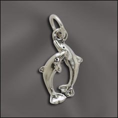 WJ  SS/CR3/DP | STERLING SILVER CHARM - SMALL PLAYFUL DOLPHINS