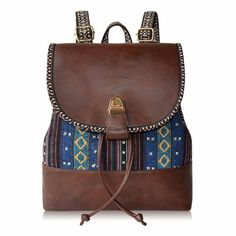 6a78a83c7ae8 How nice Small Fresh Folk Style Canvas Leather Backpack ! I like it ! I want