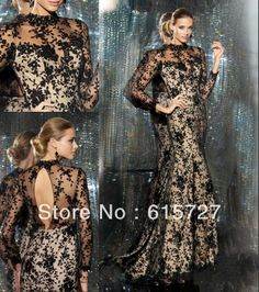 New Arrival 2013 Elegant Satin Long lace Crystal Sequin Sexy Long  Train  Custom Made Prom Cocktail  Dress Evening Dresses $155.00