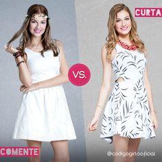 Hoje a escolha está bem complicada! Vestido liso ou estampado? Vote no seu predileto! #Enquete #CódigoGirls #Tendencia #Verao  www.codigogirls.com.br @codigogirlsoficial