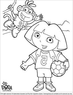 Dora The Explorer Coloring Page Boots And Ready To Play Football