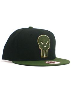 259e24a4a08 New Era Punisher 9fifty Snapback Hat Adjustable Cap Marvel Comics Black  Green  fashion  clothing