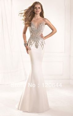 gown beaded Picture - More Detailed Picture about 2014 Tarik Ediz Dress Most Radiant Mermaid Crystal Beaded Sheer Neckline Open Back White Prom Party Dresses Long Evening Gown Picture in Prom Dresses from SUZHOU KAMALIYA LOVE STORE | Aliexpress.com | Alibaba Group