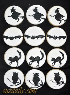Halloween cookies.  Pretty simple, silhouettes give these such a nice look.  www.suzdaily.com