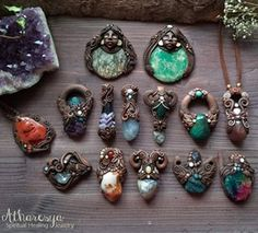 """image by Atharesya (@atharesya) with caption : """"Beautiful New #jewelry #available in my Etsy Shop! #handmade #atharesya #claypendant #healingstones #healingcrystals #h"""" - 1223247243973381918"""