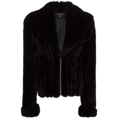 Jean Paul Gaultier Vintage faux fur jacket (£920) ❤ liked on Polyvore featuring outerwear, jackets, black, zip front jacket, fake fur jacket, jean paul gaultier jacket, shawl collar jacket and faux fur jacket