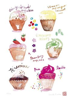 Cupcake illustration, Food art print, Art for kitchen, Pink decor… Cupcake Illustration, Illustration Art, Cupcake Kunst, Cupcake Torte, Foto Pastel, Cupcake Collection, Kitchen Artwork, Kitchen Decor, Watercolor Food
