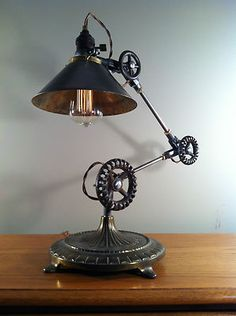 Vintage Industrial Desk Lamp Machine Age Task Light Cast Iron Steampunk | eBay
