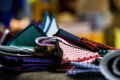 Our display of cotton pocket squares in all kinds of collors and patterns. Prague's Fashion market 2013.