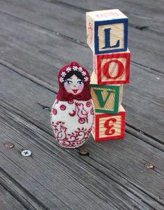Matryoshka  Valentines Day Doll Hand by TheSnowQueensGarden, $24.50