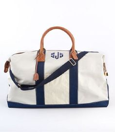 monogrammed canvas overnight bag.