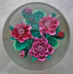 Exquisite SIGNED Ken Rosenfeld INTRICATE Lampwork FLOWERS 1984 Glass PAPERWEIGHT