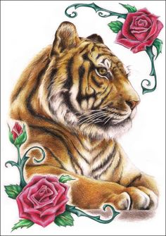 Tiger N' Roses by Z-ompire on DeviantArt Big Cats Art, Cat Art, Beautiful Cats, Animals Beautiful, Jungle Animals, Cute Animals, Cute Tiger Cubs, Save The Tiger, Tiger Pictures
