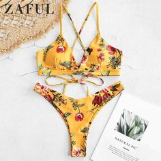 ec0aaf9200072  BestPrice  Fashion ZAFUL Flower Bikini Set Retro Women Push Up Bra Bandeau  Bikinis Padded