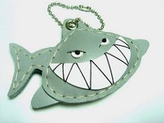 Henri the Shark leather charm (leatherprince) Tags: cute girl leather shark women keychain keyring handmade unique charm gift etsy keyfob phonecharm bagcharm dawanda leatherprince