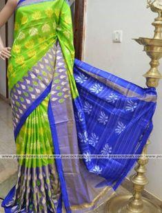 Green and blue ikkat silk sarees Ikkat Pattu Sarees, Pochampally Sarees, Kanchipuram Saree, Handloom Saree, Saree Models, Designer Silk Sarees, Silk Sarees Online, Cotton Saree, Indian Dresses