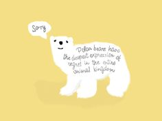 """""""Polar bears have the deepest expression of regret in the entire animal kingdom"""" from the movie """"Me and Earl and The dying girl """" by Eviatar amar"""