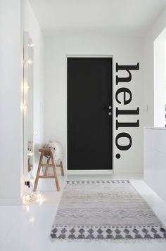 Hello Wall Decal - Update your front door with our DIY Hello Decal. A fun way to welcome family & friends! This HELLO wall sticker can be applied to any wall. Office Walls, Office Decor, Modern Wall Decals, Interiores Design, Wall Decor, Room Decor, Diy Home Decor, Interior Decorating, New Homes
