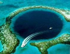 The Belize Blue Hole, part of the larger Belize Barrier Reef Reserve System, a World Heritage UNESCO site.