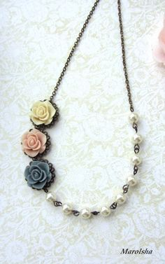 Three Soft Rose Flowers, Pink, Blue Grey, Ivory with Swarovski Ivory Pearls Vintage Style Necklace. Bridesmaid Necklace Gifts.