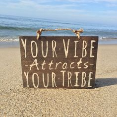 Your Vibe Attracts Your Tribe Sign / Wood Sign / by HollyWoodTwine