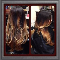 Ombre fade hair color, black to blonde, dark brown