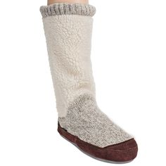 Acorn Slippers Women's A10161 ACC Popcorn White Cable Knit Slouch Boot