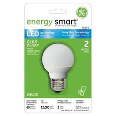 Green Supply - for now and future - GE Energy Smart 10W Replacement (2W) Globe G16.5 LED Bulb (Warm, White) $18.45
