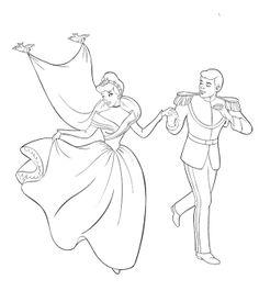 Cinderella And Prince Be Happy Coloring Page