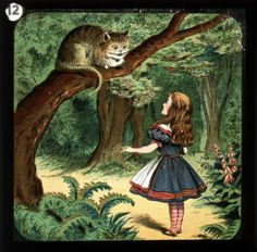 Number twelve in a set of magic lantern slides depicting the story of Alice's Adventures in Wonderland by Lewis Carroll, Illustrated by Sir John Tenniel [via The Bill Douglas Centre for the History of Cinema and Popular Culture] Alicia Wonderland, Adventures In Wonderland, John Tenniel, Lewis Carroll, Queen Of Hearts Alice, Alice In Wonderland Illustrations, Chesire Cat, Were All Mad Here, Through The Looking Glass