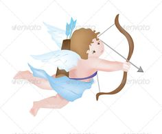 Cute Cupid Shooting an Arrow, isolated on white background. Colored with gradient mesh. EPS10 and AI10 with 6 layers, completely editable and high resolution JPG.