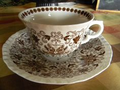 Vintage Brown and White Toile Transferware Masons Bow Bells Aesthetic Feel Floral Cup and Saucer.