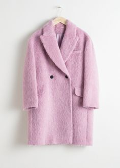 0e40c1954a Front image of Stories wool blend straight coat in pink Teddy Coat