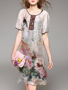 Multicolor Two Piece Silk Vintage Printed Midi Dress