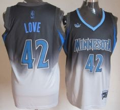 4f2f1779a3a Minnesota Timberwolves  42 Kevin Love Black Gray Fadeaway Fashion Jersey  Basket Nba