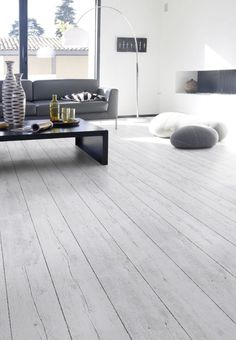 Flooring really is the foundation of a lovely room - Roseann H. Popp Home Light Grey Wood Floors, Grey Wooden Floor, White Floorboards, White Oak Floors, Gray Floor, Pvc Flooring, Grey Flooring, Vinyl Flooring, Home Living Room