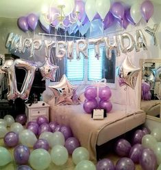 Silver and pruple birthday package Includes:- Happy birthday foil balloon silver 2 star foil balloons silver 2 digit foil balloons silver 25 white latex balloons 25 purple katex balloons Price is Cash on delivery all over pakistan 🇵🇰 Birthday Goals, Birthday Party For Teens, 14th Birthday, Birthday Wishes, Birthday Surprises, Birthday Ideas, Happy Birthday Foil Balloons, Birthday Balloon Decorations, Birthday Packages