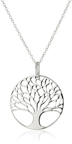 "Sterling Silver Tree of Life Disk Chain Pendant Necklace, 18"" Amazon Collection http://smile.amazon.com/dp/B00GC3FS06/ref=cm_sw_r_pi_dp_1R44wb1SF46YK"