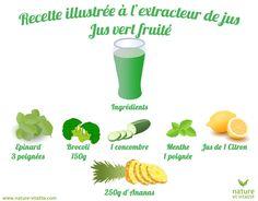Jus vert estival à l'ananas. Les fruits doivent être pelés et coupés en cubes : ne pas passer de pépins ou de peaux dures dans votre appareil.