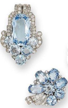 An art deco aquamarine and diamond clip brooch, by Cartier, and a pair of aquamarine and diamond earrings, circa 1935