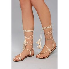 Veronica Nude Lace-Up Flat Sandals (165 ZAR) ❤ liked on Polyvore featuring shoes, sandals, beige, lace up shoes, toe ring flat sandals, nude sandals, tassel sandals and laced sandals