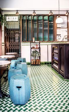 A few months after opening Bun House upstairs, husband and wife team Z He and Alex Peffly have opened Tea Room in the basement of the former Moroccan restaurant and hookah joint Maison Toureg in London's Soho quarter. Both spaces – designed by He's in. Interior Design Dubai, Restaurant Interior Design, Cafe Interior, Modern Interior Design, Design Interiors, Modern Interiors, Contemporary Interior, Luxury Interior, Bar Bistro
