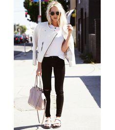 @Who What Wear - On Shea: IRO jacket; Teva Original Universal Flat Sandals ($40) in White