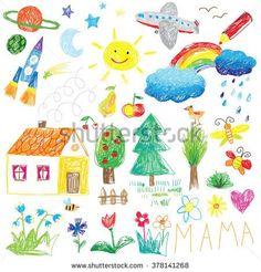 child drawing doodle set