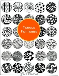 Tangle pattern ideas for doodle tangle Zentangle drawing