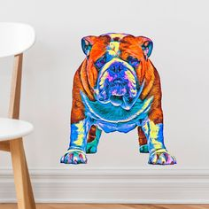 """Colorful and undeniably cute! Whether you are a Bulldogs fan or a loyal bulldog owner, this adorable peel and stick bulldog wall decal will add charisma and color to your space. It works great on walls, doors, windows, and virtually any flat surface. This dog decal is available in 3 sizes (Small - 8.75""""w x 10""""h; Medium - 14.4""""w x 16.4""""h; Large - 21""""w x 24""""h). You'll love the material as it is ultra easy to put up, is repositionable, and leaves no residue when you take it off. Go dogs!"""