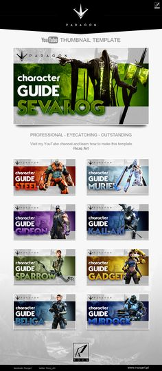 Youtube thumbnail template design for Paragon MOBA game videos.   Check the speedart/tutorial video on my YouTube channel!
